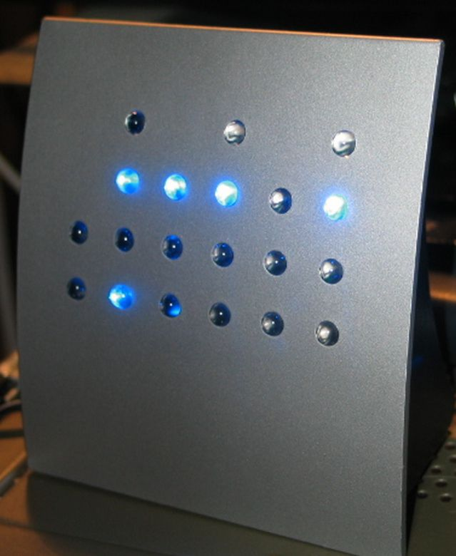 Powers of 2 Binary Clock with Blue LED Lights